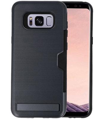 Zwart Tough Armor Kaarthouder Stand Hoesje voor Samsung Galaxy S8 Plus