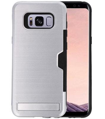 Zilver Tough Armor Kaarthouder Stand Hoesje voor Samsung Galaxy S8 Plus