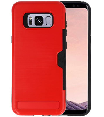 Rood Tough Armor Kaarthouder Stand Hoesje voor Samsung Galaxy S8 Plus