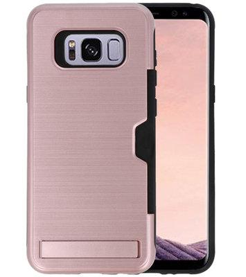 Roze Tough Armor Kaarthouder Stand Hoesje voor Samsung Galaxy S8 Plus