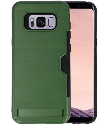 Donker Groen Tough Armor Kaarthouder Stand Hoesje voor Samsung Galaxy S8 Plus