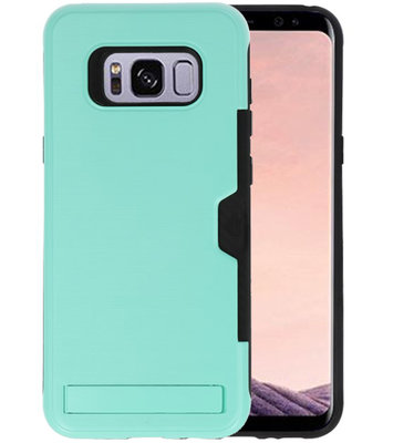 Turquoise Tough Armor Kaarthouder Stand Hoesje voor Samsung Galaxy S8 Plus