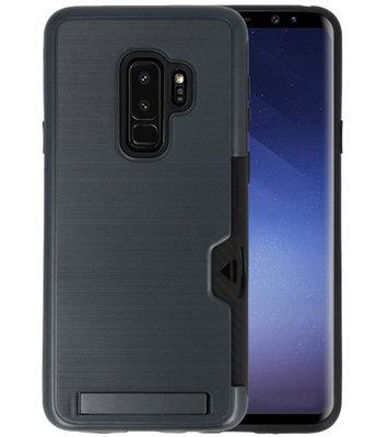 Zwart Tough Armor Kaarthouder Stand Hoesje voor Samsung Galaxy S9 Plus