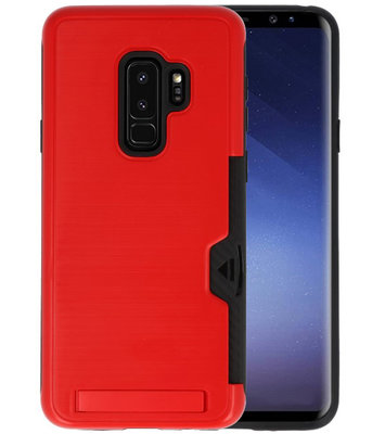 Rood Tough Armor Kaarthouder Stand Hoesje voor Samsung Galaxy S9 Plus