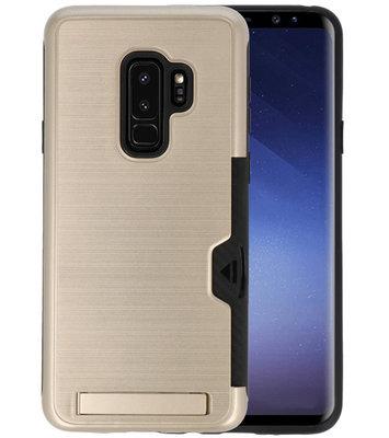 Goud Tough Armor Kaarthouder Stand Hoesje voor Samsung Galaxy S9 Plus