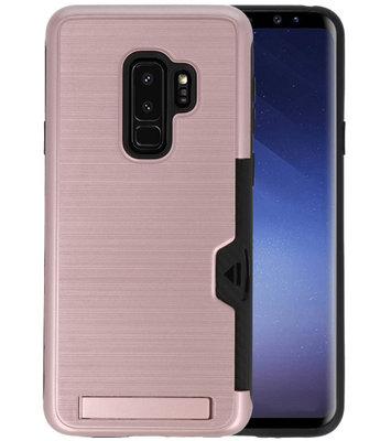 Roze Tough Armor Kaarthouder Stand Hoesje voor Samsung Galaxy S9 Plus