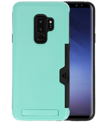 Turquoise Tough Armor Kaarthouder Stand Hoesje voor Samsung Galaxy S9 Plus