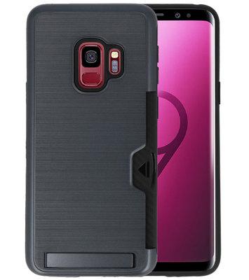 Zwart Tough Armor Kaarthouder Stand Hoesje voor Samsung Galaxy S9