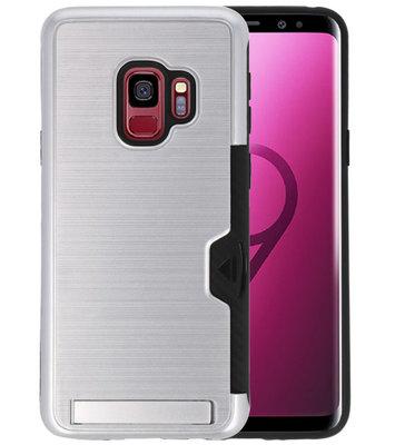 Zilver Tough Armor Kaarthouder Stand Hoesje voor Samsung Galaxy S9