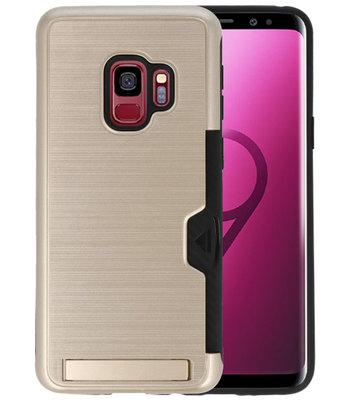 Goud Tough Armor Kaarthouder Stand Hoesje voor Samsung Galaxy S9