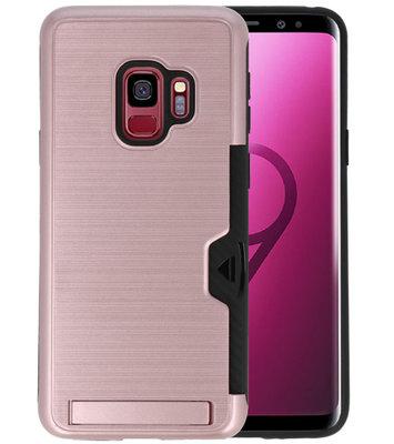 Roze Tough Armor Kaarthouder Stand Hoesje voor Samsung Galaxy S9