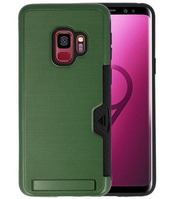 Donker Groen Tough Armor Kaarthouder Stand Hoesje voor Samsung Galaxy S9