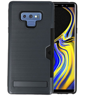 Zwart Tough Armor Kaarthouder Stand Hoesje voor Samsung Note 9