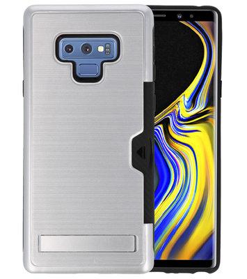 Zilver Tough Armor Kaarthouder Stand Hoesje voor Samsung Note 9