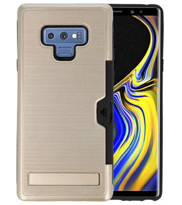 Goud Tough Armor Kaarthouder Stand Hoesje voor Samsung Note 9