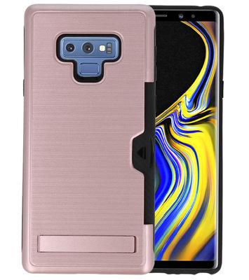 Roze Tough Armor Kaarthouder Stand Hoesje voor Samsung Note 9