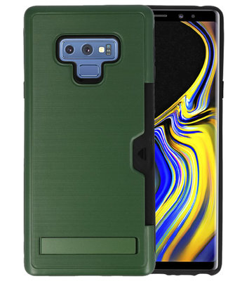 Donker Groen Tough Armor Kaarthouder Stand Hoesje voor Samsung Note 9
