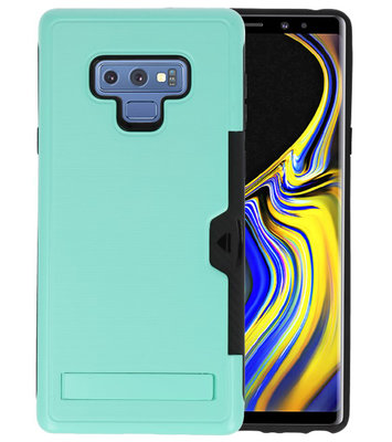 Turquoise Tough Armor Kaarthouder Stand Hoesje voor Samsung Note 9