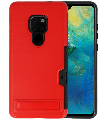 Rood Tough Armor Kaarthouder Stand Hoesje voor Huawei Mate 20