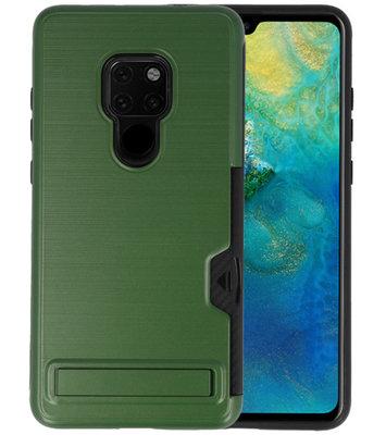 Donker Groen Tough Armor Kaarthouder Stand Hoesje voor Huawei Mate 20