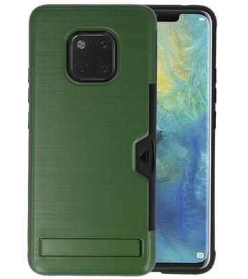 Donker Groen Tough Armor Kaarthouder Stand Hoesje voor Huawei Mate 20 Pro