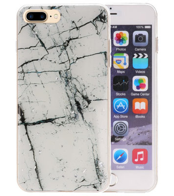Marble Wit Print Hardcase voor iPhone 7 Plus / 8 Plus