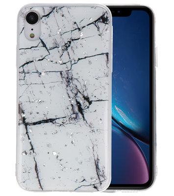 Marble Wit Print Hardcase voor iPhone XR
