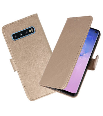 Bookstyle Wallet Cases Hoesje voor Samsung Galaxy S10 Goud