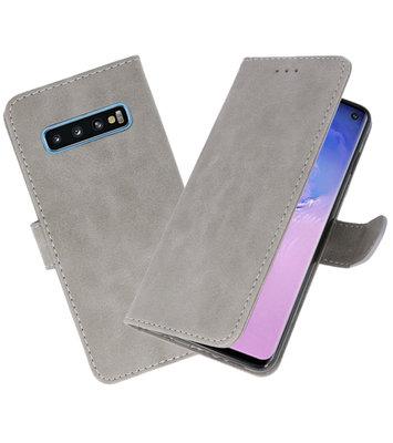 Bookstyle Wallet Cases Hoesje voor Samsung Galaxy S10 Grijs