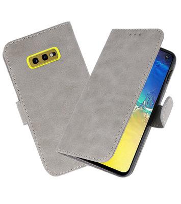 Bookstyle Wallet Cases Hoesje voor Samsung Galaxy S10e Grijs