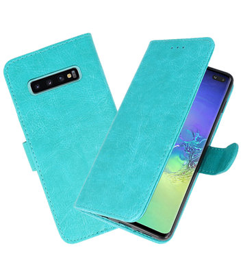 Bookstyle Wallet Cases Hoesje voor Samsung Galaxy S10 Plus Groen