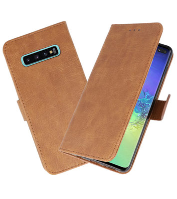 Bookstyle Wallet Cases Hoesje voor Samsung Galaxy S10 Plus Bruin