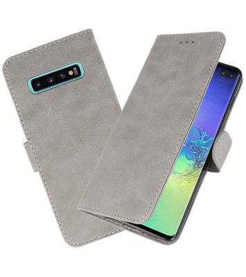 Bookstyle Wallet Cases Hoesje voor Samsung Galaxy S10 Plus Grijs