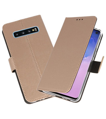 Wallet Cases Hoesje voor Samsung Galaxy S10 Goud