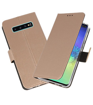 Wallet Cases Hoesje voor Samsung Galaxy S10 Plus Goud