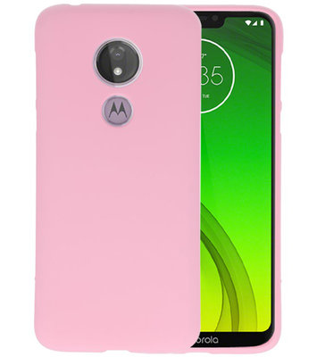 Color TPU Hoesje voor Motorola Moto G7 Power Roze