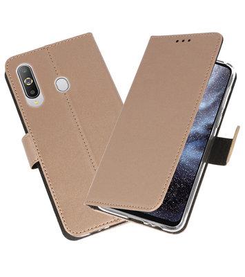 Wallet Cases Hoesje voor Samsung Galaxy A8s Goud
