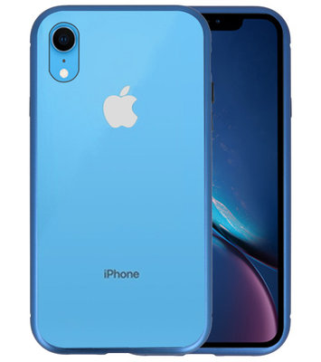 Magnetic Back Cover voor iPhone XR Blauw - Transparant