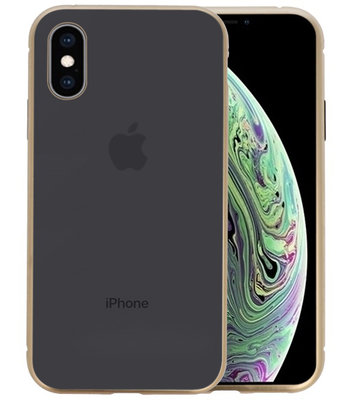 Magnetic Back Cover voor iPhone XS Goud - Transparant
