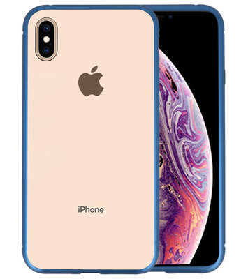 Magnetic Back Cover voor iPhone XS Max Blauw- Transparant