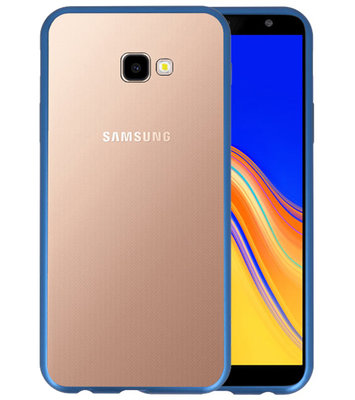 Magnetic Back Cover voor Galaxy J4 Plus Blauw - Transparant