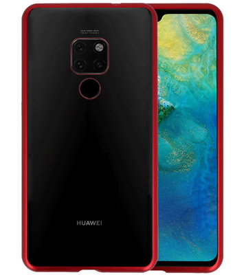 Magnetic Back Cover voor Huawei Mate 20 Rood - Transparant