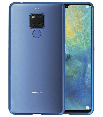Magnetic Back Cover voor Mate 20 X Blauw - Transparant