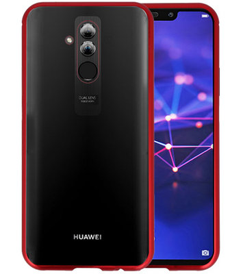 Magnetic Back Cover voor Mate 20 Lite Rood - Transparant