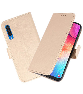 Bookstyle Wallet Cases Hoesje voor Samsung Galaxy A50 Goud