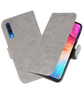 Bookstyle Wallet Cases Hoesje voor Samsung Galaxy A50 Grijs