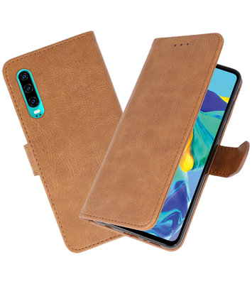 Bookstyle Wallet Cases Hoesje voor Huawei P30 Bruin
