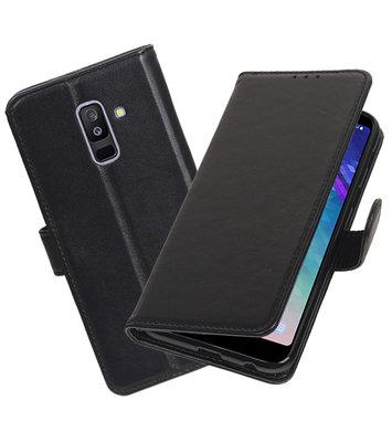 Echt Lederen Hoesje Wallet Case voor Samsung Galaxy A6 Plus (2018) Zwart