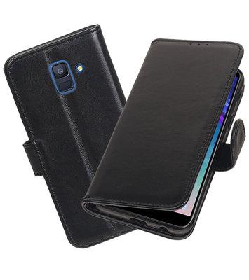 Echt Lederen Hoesje Wallet Case voor Samsung Galaxy A6 (2018) Zwart