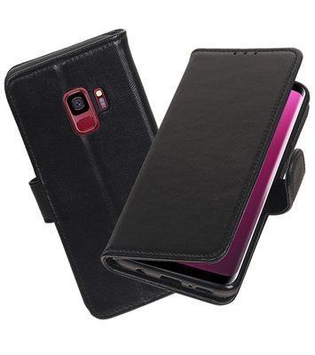 Echt Lederen Hoesje Wallet Case voor Samsung Galaxy S9 Zwart